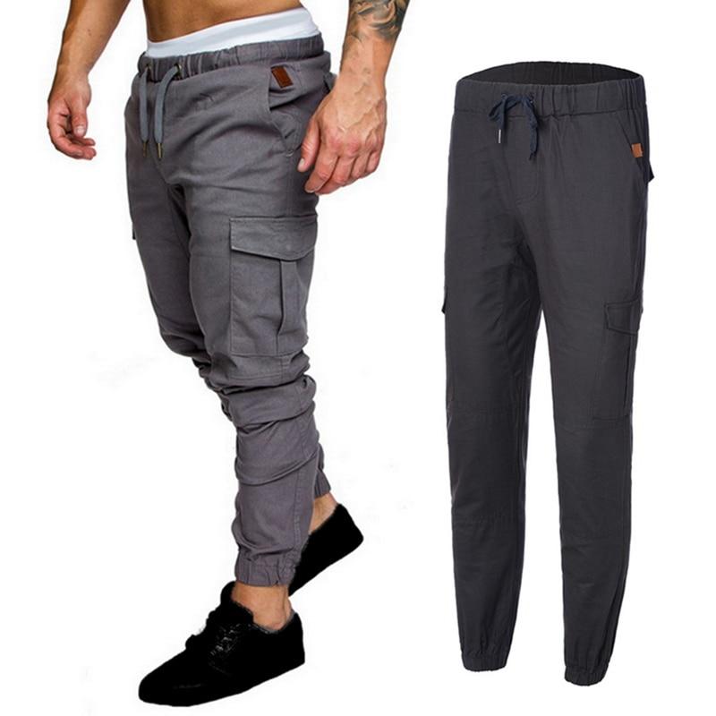 2020 Srping Autumn Casual Men Pants Drawstring Elastic Waist Cargo Trouser Solid Jogger Sweatpant Side Pocket Harem Pants