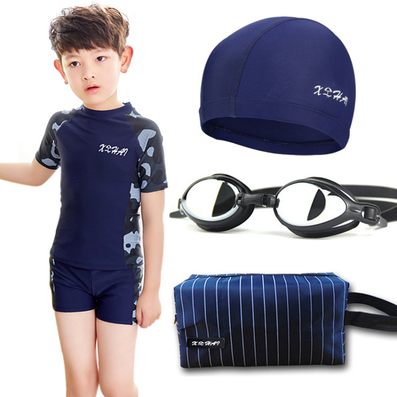 CHILDREN'S Swimsuit Set Boy Teenager BOY'S Swimming Trunks Students Big Boy Split Type Hot Springs Sun-resistant Swimming Quick-
