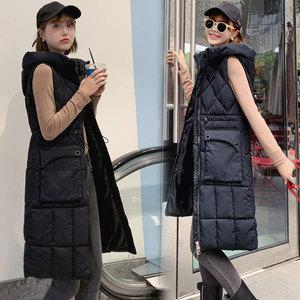 Image 3 - PinkyIsBlack 2020 Women Winter Vest Waistcoat New Women Long Vest Sleeveless Jacket Hooded Quilting Down Cotton Warm Vest Female