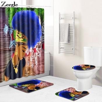 4pcs Bathroom Shower Curtain Durable Waterproof Bath Curtain Set Soft Toilet Cover Mat Anti-Slip Bath Mat and Shower Curtain Set