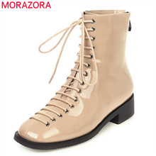 MORAZORA 2020 new fashion ankle boots for women cross tied square toe autumn Short Boots comfortable low heel casual shoes woman