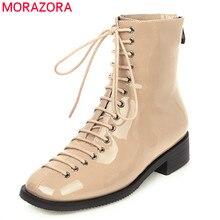 MORAZORA 2020 موضة جديدة حذاء من الجلد للنساء الصليب تعادل ساحة تو الخريف أحذية بوت قصيرة مريحة منخفضة الكعب حذاء كاجوال امرأة