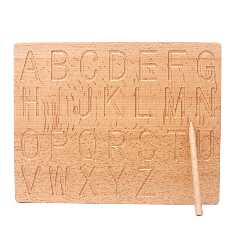 Montessori Language Toys English Capital Alphabet Letters & 0-9 Digitals Board Cognition Writing Practice Home Work Preshool Toy