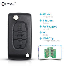 Keyyou 433Mhz ID46 Chip Autosleutel Voor Peugeot 207 307 407 208 308 408 607 Partner Afstandsbediening Sleutel 3 knoppen CE0536 Met VA2 Blade