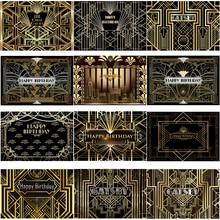 Grandes gatsby tema festa de aniversário fotografia fundo preto linha dourada personalizar festa de aniversário decoração backdrops banner