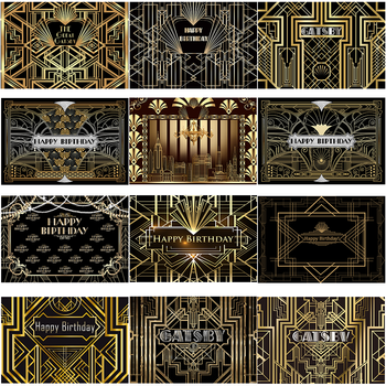 Great Gatsby Theme Birthday Party Photography Background Black Golden Line Customize Decor Backdrops Banner