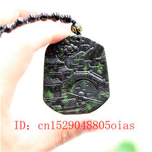Natural Black Green Chinese Jade Landscape Pendant Beads Necklace Charm Jewelry Obsidian Accessories Carved Amulet Gifts for Men(China)