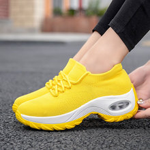 MWY Wedges Shoes For Women Yellow Sneakers Comfort Ladies Trainers Schoenen Vrouw Casual Platform Plus Size