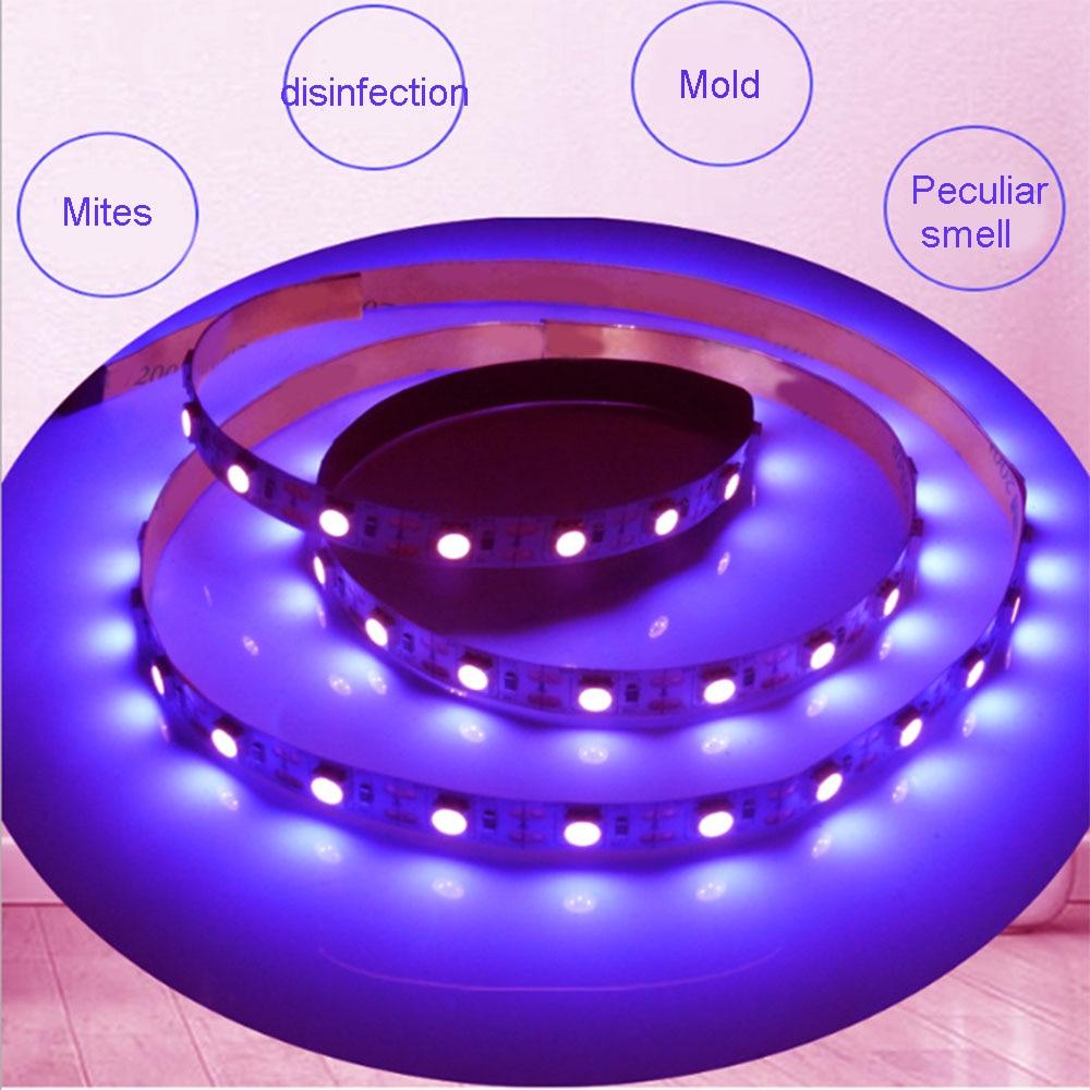 5V UV LED Strip Light UVC Germicidal Disinfection Light Bar Bactericidal Lamp Ozone Sterilizer Mites Light Strips Lamp
