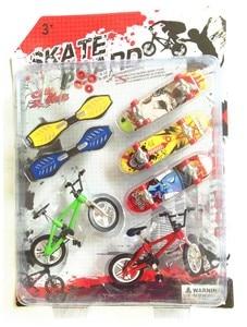 [Funny] 7pcs/set Alloy Tech Skateboard Stunt Ramp Deck toy professional tools graffiti fashion mini finger skateboard + bike toy(China)