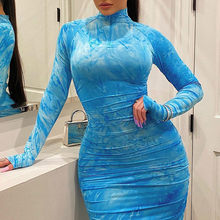 Fashion 2021 spring women's dress Large size 5xl Pleated zipper printing Tight Sexy dresses long evening elegant bodycon dress
