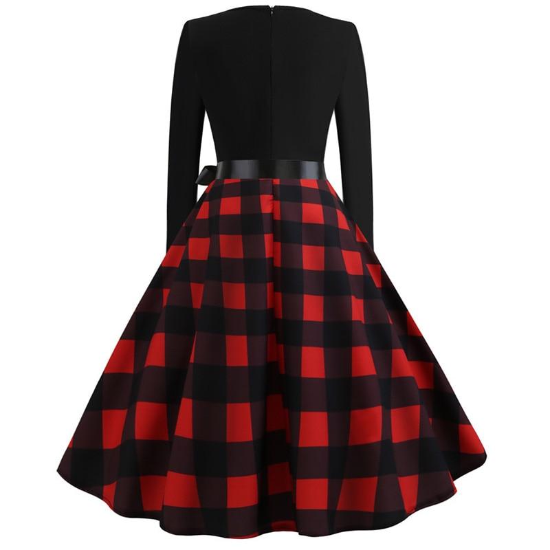 Women Long Sleeve Winter Vintage Dresses Sexy Black Music Note Print V-neck Rockabilly Pin up Party Dress Vestidos Plus size 541