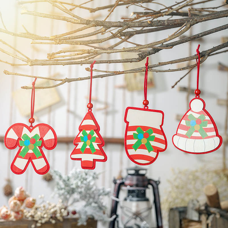2019 Xmas Wooden Christmas Pendants Christmas Tree Hanging Accessories Tree Glove Hat Cane Baubles 2pcs for Home Party Decor in Pendant Drop Ornaments from Home Garden