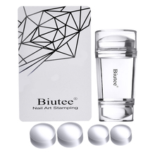 Biutee Dual Clear Jelly Nail Art Stamper 4Pcs Silicone Heads with Rhin