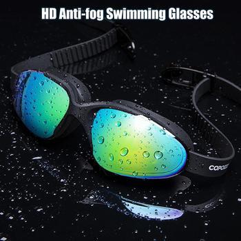 Profesjonalne wodoodporne okulary pływackie dla dorosłych podwójne przeciwmgielne wodne gogle pływackie okulary męskie i damskie gogle pływackie z etui # B tanie i dobre opinie ISHOWTIENDA Czerwony Z tworzywa sztucznego STAINLESS STEEL