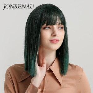 Короткие прямые парики JONRENAU розового и зеленого цвета из синтетического Боба с челкой для белых/черных женщин, вечерние парики или косплей
