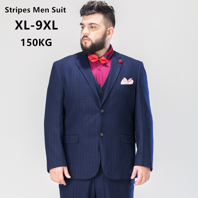 Mens Suits 3 Piece High Quality Men Clothes For Wedding 2019 Groom Stripes Formal Business Office Coat Pant 6XL 7XL 8XL 9XL Suit