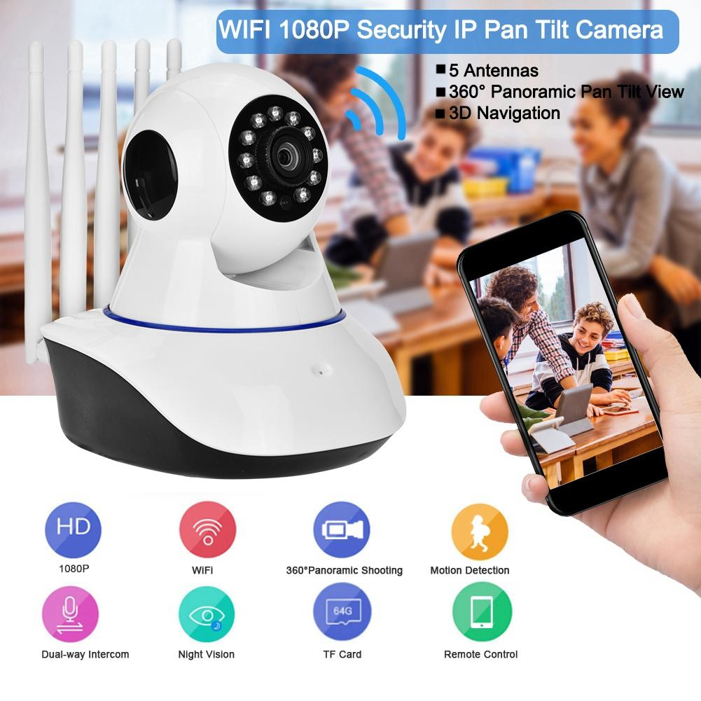 360 Degree WIFI 1080 P Beveiliging IP Pan Tilt Camera Draadloze IR Babyfoon Met 5 Antennes 110 V-240 V Baby Camera