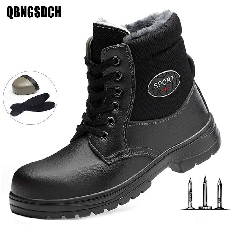 Winter Work Boots Men Women General Plus Velvet Warm Work Shoes Smash-proof Stab-resistant Anti-slip Safety Shoes Welder Boots