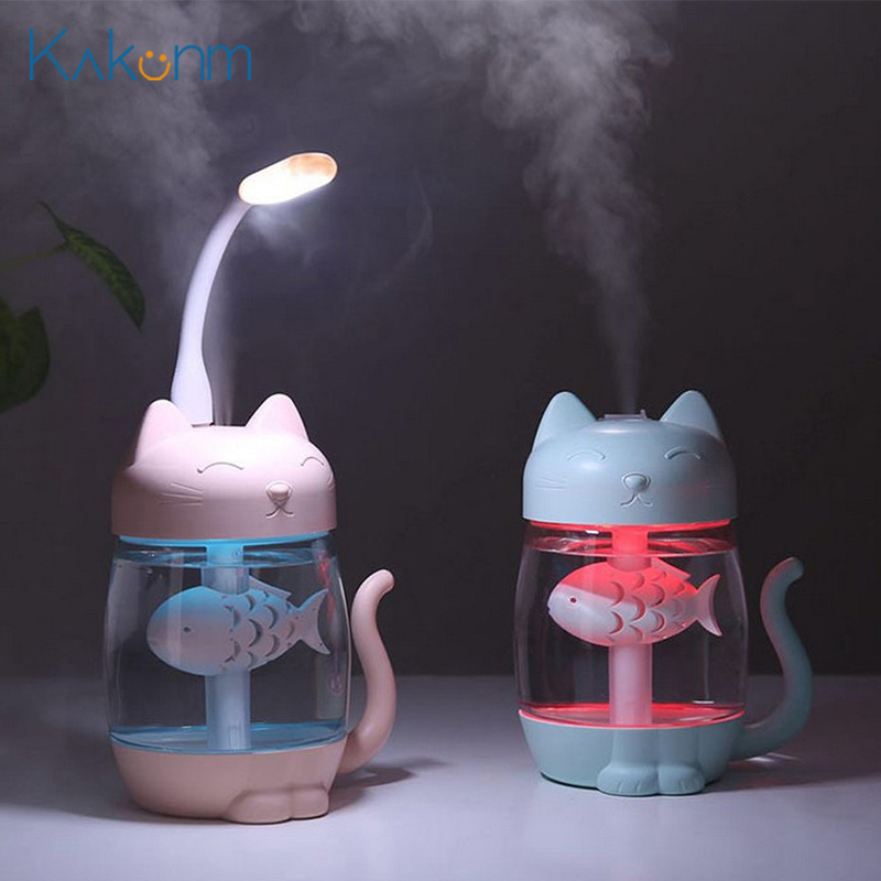3 In 1 USB Cat Air Humidifier Mini Humidifier 350ml Essential Oil Diffuser Purifier Atomizer With LED Light Fan For Home Office