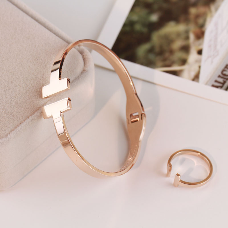 Luxury Brand Fashion Jewelry Bangle Titanium Steel Gold Color Love Letter Bracelet Bangle for Women Men Cuff Bangles Gifts ka8 in Bangles from Jewelry Accessories