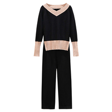 Big Yards V Neck Pullover Sweater Pants Suits Women Autumn Outfit New Two-Piece Clothing Set Knitwear Leisure Knitted Clothes