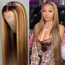 Melodie 4 27 vurgulamak Ombre kahverengi düz 28 30 inç dantel ön peruk brezilyalı İnsan Remy saç 13x4 dantel siyah kadınlar için
