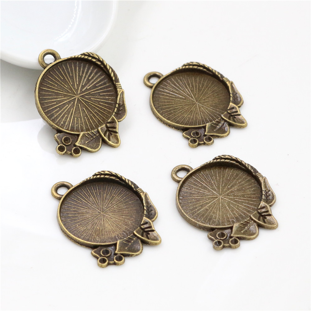3pcs 20mm Inner Size Antique Bronze Classic Style Cabochon Base Setting Charms Pendant (D3-20)