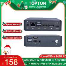 Topton popularny Super Mini PC 10TH i7 10510U i5 10210 2 * DDR4 NVME M.2 kieszonkowy komputer stacjonarny Window10 Pro typ c 4K HDMI 2.0 DP