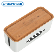 NTONPOWER Hard Plastic Power Strip Storage Box Cable Management Box with Holder and Dustproof Cover for HomeSafety