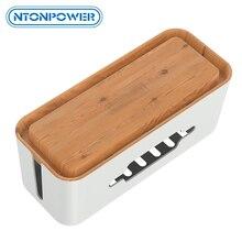 NTONPOWER caja de almacenamiento de regleta de plástico duro, caja de gestión de cables con soporte y cubierta a prueba de polvo para casa