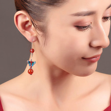 Ethnic Luxury Hollow Drops Dangle Earrings Trendy Red Bead Butterfly Wedding Engagement Party China stone earring for women girl