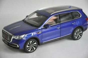 1:18 Diecast Model for FAW Hongqi HS7 2019 Blue Luxury SUV Alloy Toy Car Miniature Collection Gifts T2 фото