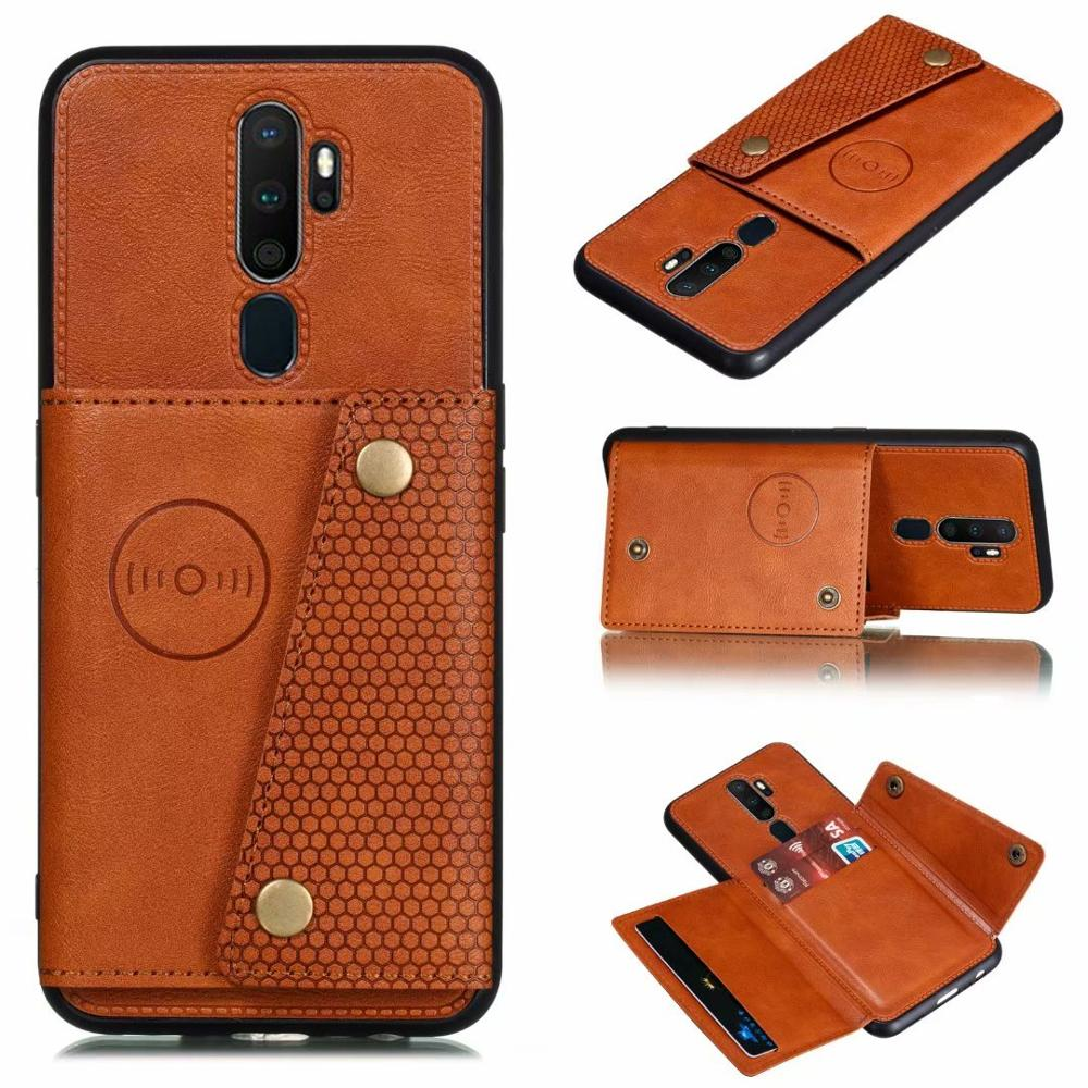 For <font><b>OPPO</b></font> A9 2020 Luxury PU Leather <font><b>Wallet</b></font> Magnet Flip Phone <font><b>Case</b></font> For <font><b>OPPO</b></font> <font><b>A5</b></font> 2020 A11X Card Slots Shockproof Flip Shell Cover image