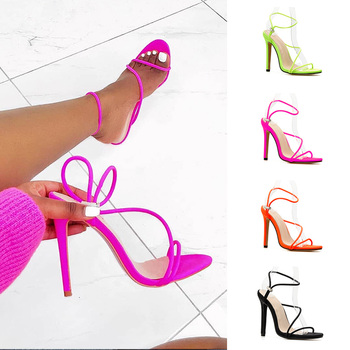 2019 Women Sexy Thin Heels Sandals New Candy Color High Heel Elastic Band Shoes - discount item  49% OFF Women's Shoes