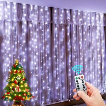 СВЕТОДИОДНЫЕ гирлянды Новогоднее украшение дистанционного Управление USB Свадебная гирлянда штора 3 м лампа праздник для лампа для спальни для создания сказочной атмосферы на открытом воздухе