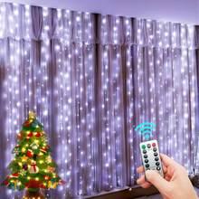 Led luzes da corda decoração de natal controle remoto usb casamento guirlanda cortina 3m lâmpada do feriado para o quarto ao ar livre fada