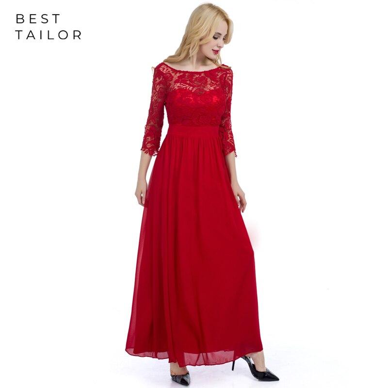 Robes de bal rouge dentelle trois quarts manches col rond en mousseline de soie longues robes de bal élégant vestido de fiesta largos noche robe de soirée