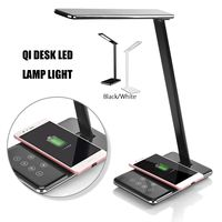 LED Table Lamp Dimming Desk Lamp QI Wireless Charger Pad USB Output Port Adjustable Light Flexible Office Table Light with Plug