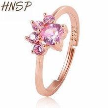 HNSP Animal Cat paw Zircon Crystal Ring for women Rose gold adjustable rings Girl birthday gift