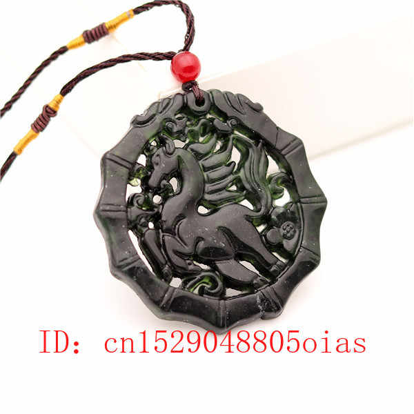 Collar con colgante de caballo de Jade chino verde y negro Natural obsidiana, amuleto grabado de doble cara, regalos para mujeres