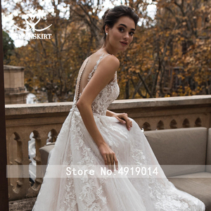 Image 5 - Vestido De Noiva Appliques Lace A Line Wedding Dress 2020 Sweetheart Sleeveless Court Train Crystal Bridal Gown Swanskirt K183