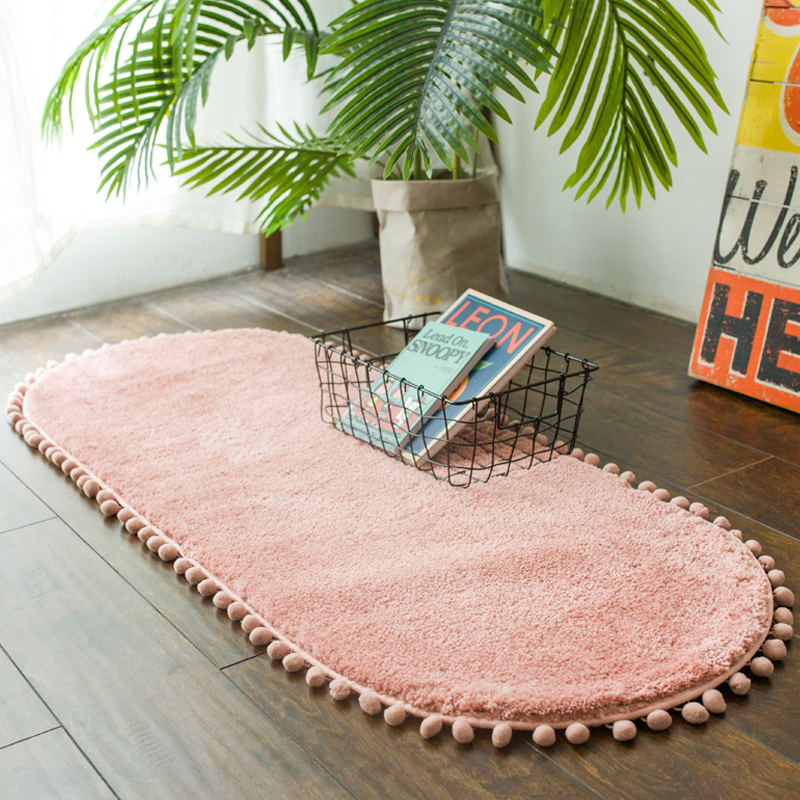 Thick Carpet Bedroom Oval Bedside Carpet Anti-skid Kitchen Mat Water Absorption Bathroom Rug Cute Pink Floor Carpet Living Room