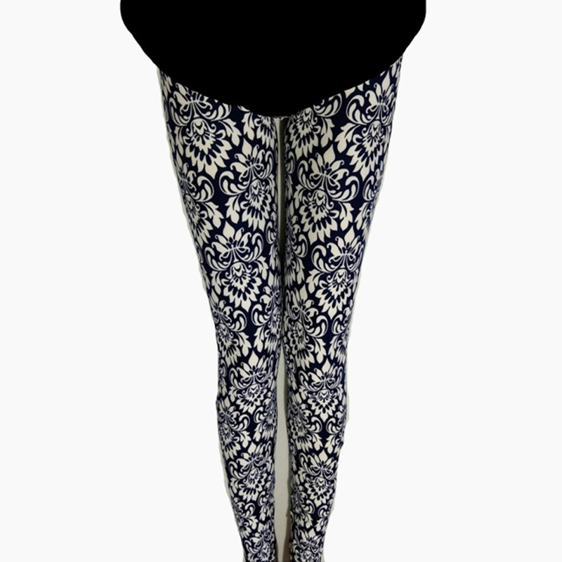 National Wind Retro Blue And White Porcelain Totem Printing Leggings Women's Elasticity Brushed Qmilch Capri Skinny Pants K759