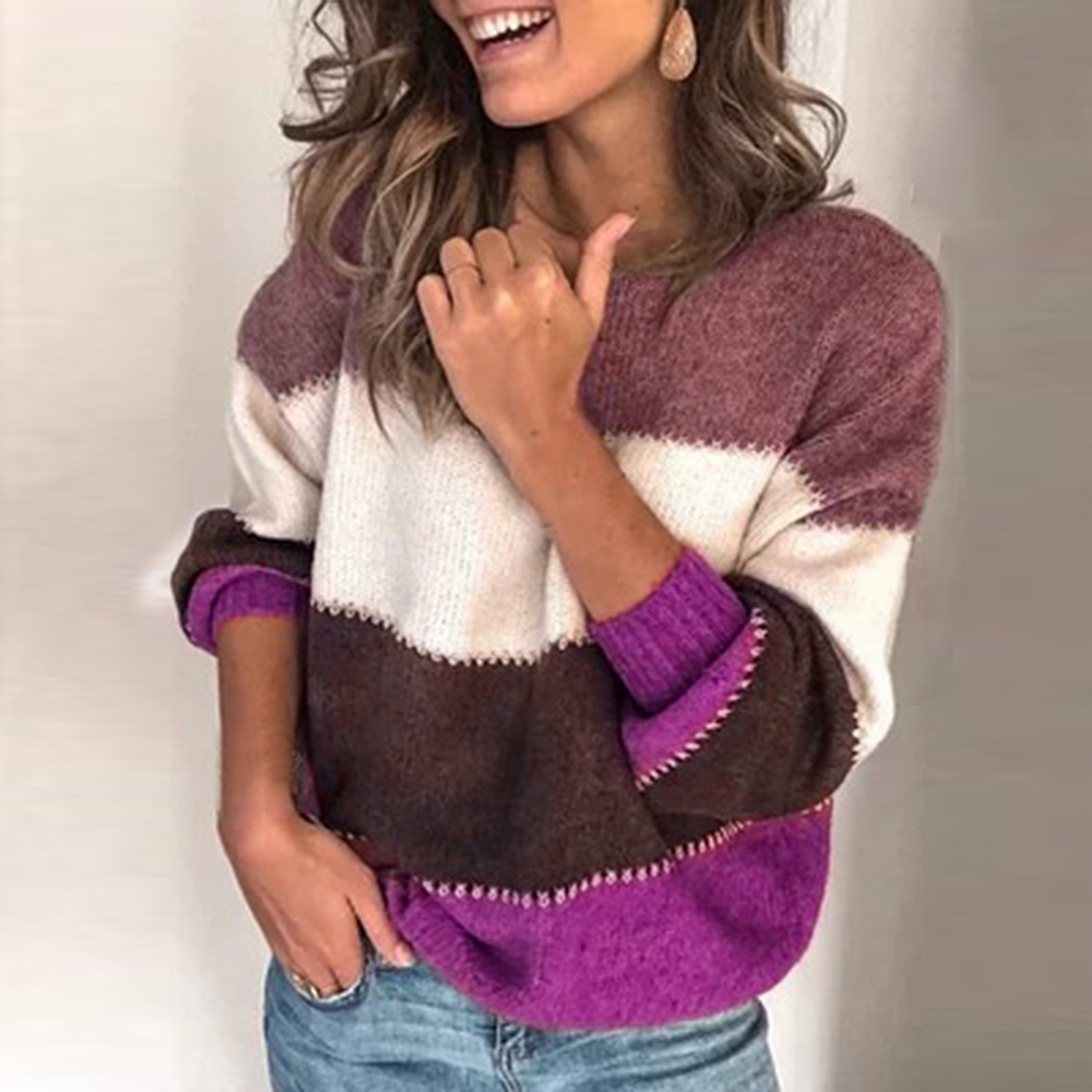 Adisputent 2020 New Spring Female Casual Patchwork Sweater Women O-neck Long Sleeve Knitted Pullover Female Loose Stripe Jumper
