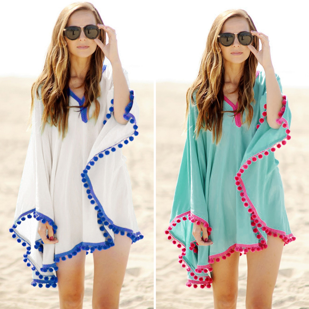 Sexy Cotton Bathing Suit Cover ups Summer Beach Dress Tassel Trim Bikini Swimsuit Cover up Beach wear Pareo Sarong