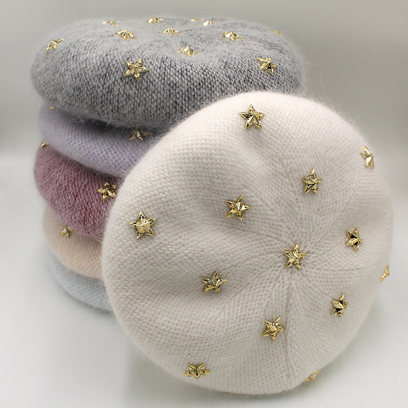 [Rancyword]  Fashion New Women Angora Rabbit Solid Color Beret Female Bonnet Caps Winter All Matched Warm Walking Hat With Stars