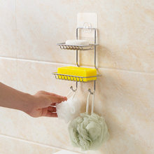 Creative Stainless Steel Soap Rack Bathroom Soap Box Storage Rack of Non Perforated Soap Box on the Wall Bath Towel Rack(China)