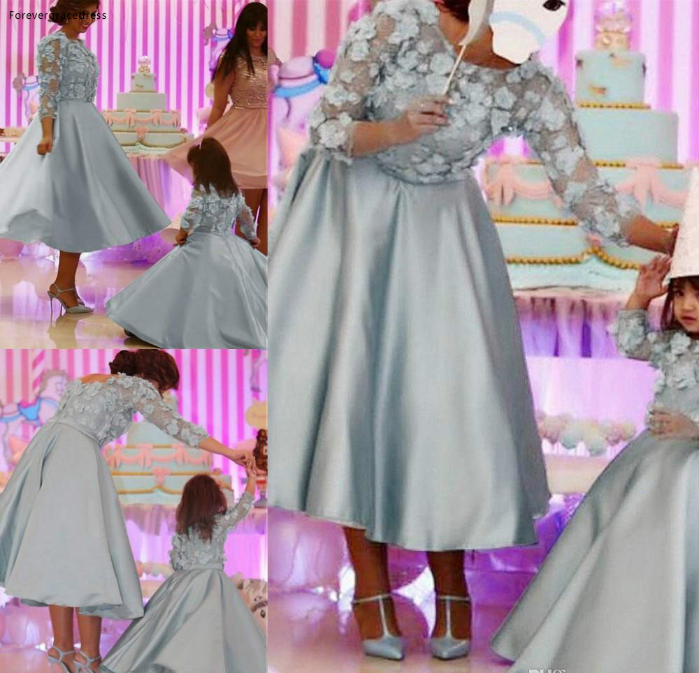 2019 Elegant Tea Length Mother Dresses Formal Godmother Women Wear Cocktail Party Guests Gown Plus Size