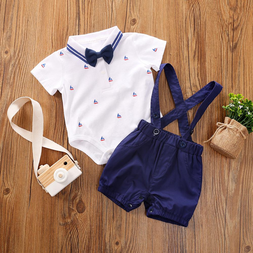 PatPat 2020 New Summer Baby Boys 0-1 Years Old Gentlemanly Anchor Print Top And Suspender Shorts Sets